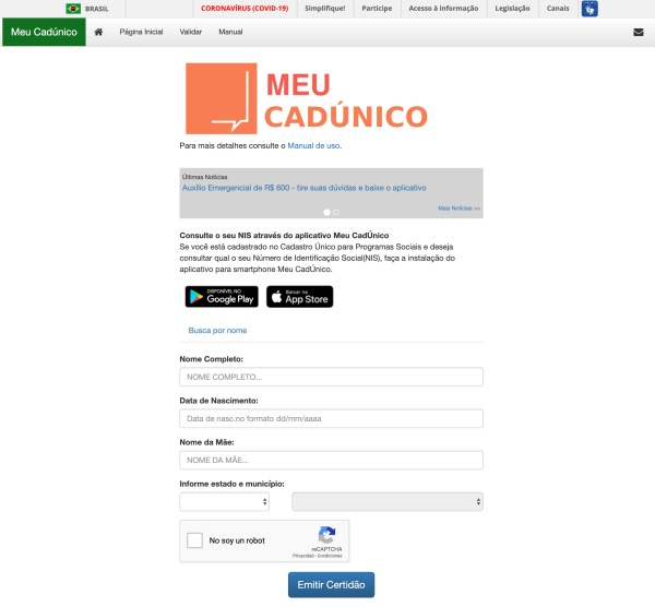 Site do CadÚnico